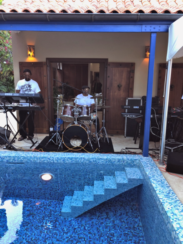 Owen Lans and Freddie Canton getting ready to play with Reggae Dynasty at St. Thomas villa