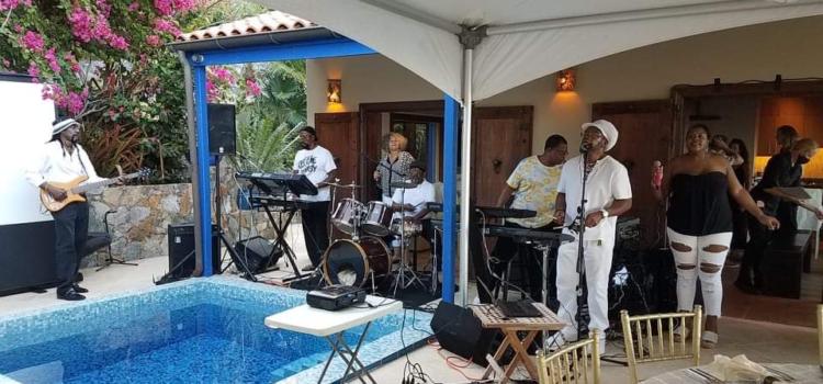 Reggae Dynasty providing musical entertainment at a St. Thomas villa